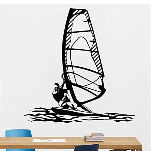 Windsurf deportes acuáticos pared calcomanía gimnasio arte decoración windsurf vinilo pared pegatinas estilo playa niños dormitorio decoración 57x57cm
