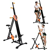 heka 2-in-1 Vertical Climber, Folding Climber Machine with Exercise Bike, Stair Climber Stepper for Home Gym Exercise, Training Legs Arms Abs Calf, Cardio Workout for Full Body (Orange Black)