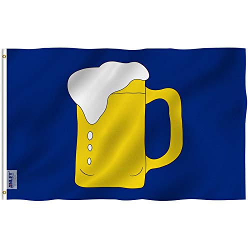 Anley Fly Breeze 3x5 Foot Beer Mug Flag - Vivid Color and Fade Proof - Double Stitched - Beer Mug BM Advertising or Service Businesses Flags Polyester with Brass Grommets 3 X 5 Ft