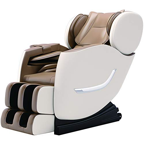 SMAGREHO New Full Body Electric Zero Gravity Shiatsu Massage Chair with Bluetooth Heating and Foot Roller for Home and Office(Khaki)