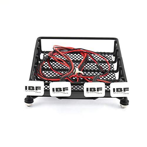greenwoodner Universal RC Car Metall Dachgepäckträger Gepäckaufbewahrungskorb und quadratische 4 LED-Leuchten Tragbarer Raupentransporter für HSP REDCAT