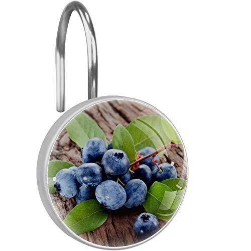 HEOH Crochets de Rideau de Douche - Wooden Blueberry - Ensemble de 12 Anneaux de Douche pour Tringle à Rideau de Douche - 100% antirouille