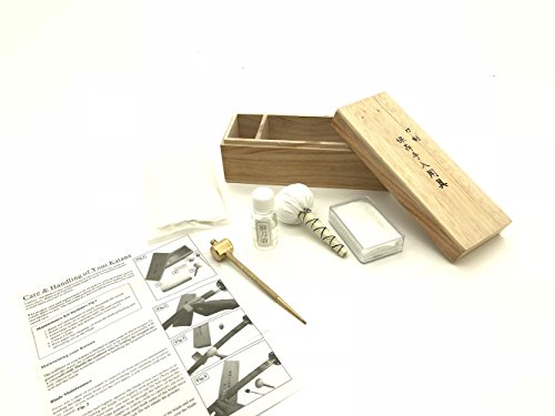 Handmade Sword - Complete Swords Maintenance & Cleaning Kit, Rice Paper, Choji Oil, Ground Whetstone Power, Small Brass Hammer with Awl