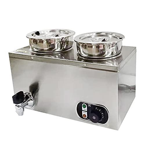 Bain Marie - Estación de sopa con grifo Chafing Dish (2 x 4 L, 1,2 kW, incluye 2 tapas, 30-85 °C, depósito calefactable)