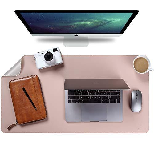 Upgrade Knodel Alfombrilla de escritorio, Estera del escritorio de oficina, Vade para escritorio hecho de cuero PU, alfombrilla del escritorio del ordenador portátil, Doble cara (4390, Rosa)