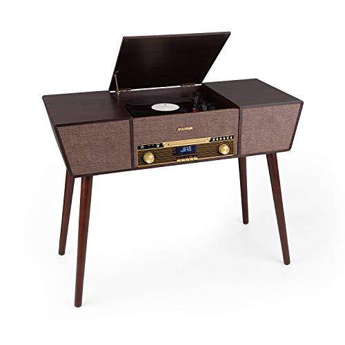 auna Belle Epoque 1912 Retro-Plattenspieler, 3 Geschwindigkeiten: 33 1/3, 45 und 78 U/min, CD-Player, DAB+/UKW-Radio, Bluetooth, USB-Aufnahmefunktion, 2 Lautsprecher, LED-Display, Fernbedienung, braun