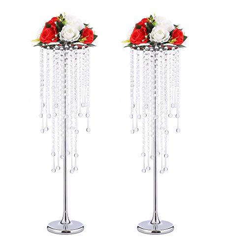 Soporte para mesas de centro de mesa de boda, soporte de metal alto, con cristales, juego de 2 candelabros para bodas, fiestas, cenas,...