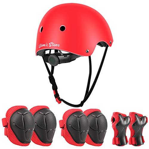 JIM'S STORE Schoner Set Knieschoner Inliner Kinder mit Verstellbaren Helm Protektoren Skateboard Helm Set Fahrrad Schützer Sport Schutzausrüstung (Rot)
