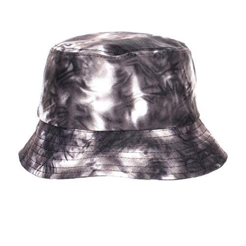 Unisex Summer Tie Dyed 100% Cotton Bucket Hats Packable UV Protection Outdoor Cap Black