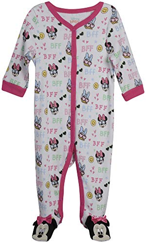 Disney Baby Girls' Sleep N' Play – Footie Pajamas: Minnie Mouse, Daisy Duck, Princess (Newborn/Infant), Size 6-9 Months, Minnie & Daisy