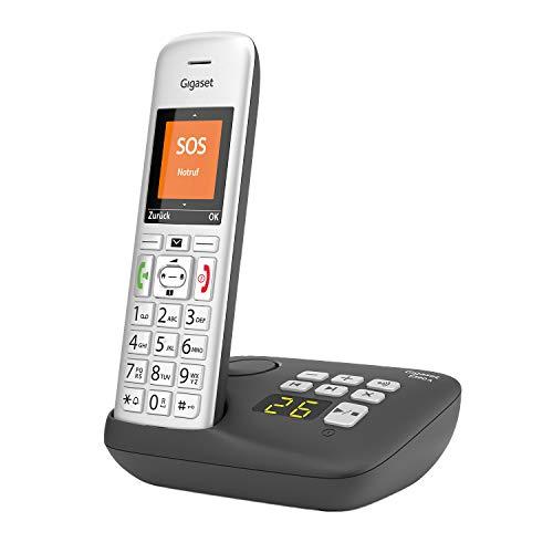 Gigaset E390A, Schnurloses Seniorentelefon für Senioren mit Anrufbeantworter, großes Farbdisplay, SOS-Notruffunktion mit 4 Rufnummern, 2 Akustik-Profile, beleuchtete Tasten, Silber/Schwarz