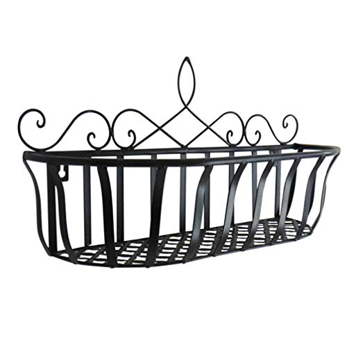 Holibanna 1PC Wall- mounted Flower Pot Iron Shelf Hanging Wall Basket for Decor Living Room Bedroom Wall Storage Platform Container (Black)
