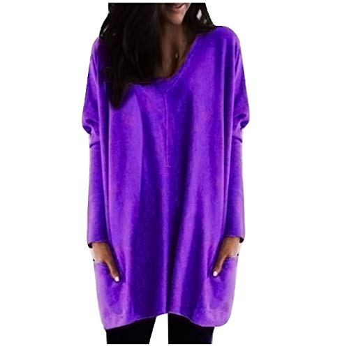 OIKAY Damen Bluse Solide Warme Langarm V-Ausschnitt Lange Bluse Unregelmäßiger Rand Sweatshirt Frauen Lose Pullover Beiläufige Weinlese Hemd Kleid Tops Bluse