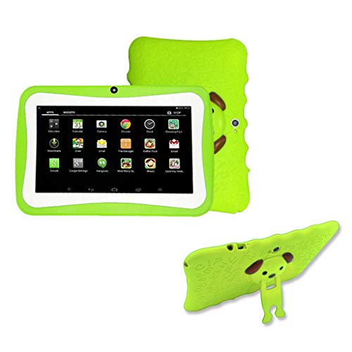 Kids Tablets PC, Shan-S 7 inch Quad Core HD Tablet for Kids Android 8.0 Support WiFi Blueteeth HD Dual Camera Quad Core 4GB ROM 1GB RAM with Handle Case, Best Gift for Kids (Green)