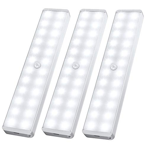 LED Closet Light, 24-LED Newest Version Rechargeable Motion Sensor Under Cabinet Lights Wireless Stick-Anywhere Night Safe Light Bar with Large Battery for Stairs,Wardrobe,Kitchen,Hallway (3 Packs)