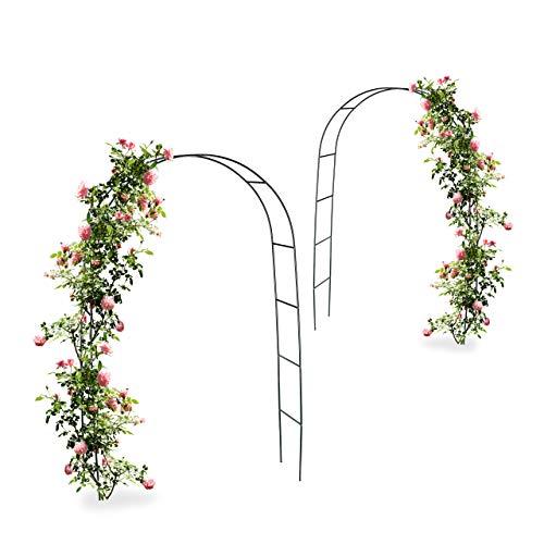 Relaxdays 2X Torbogen, Rankhilfe Kletterpflanzen Rosen, Rosenbogen Metall, witterungsbeständig, HBT: 240 x 140 x 38 cm, dunkelgrün