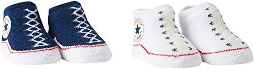 Converse 2 Pack Booties Calcetines, Azul (Navy), 0/6 meses (Talla del fabricante: 0-6M) para Bebés