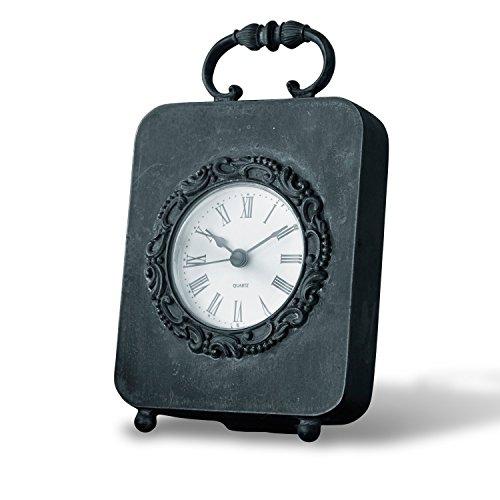 Loberon Uhr Loucé, Zinn/Zink, H/B/T ca. 16,5/10 / 4,5 cm, antikschwarz