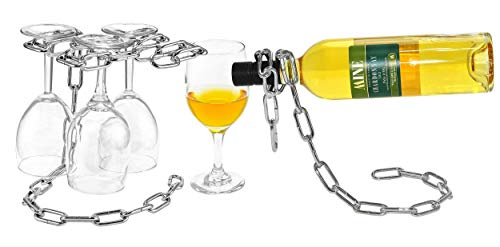 Southern Homewares Chain Wine Glass Rack & Wine Bottle Holder Set  $13 at Amazon