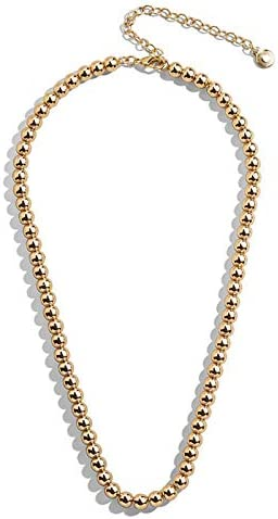 HUSION Bead Ball Chain Necklace for Women Gold Plated Choker Layered Beaded Collar Necklace product image