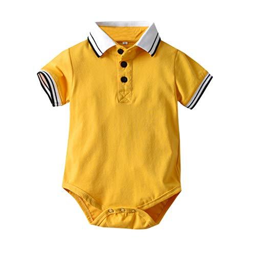 MAYOGO Bebe Polo Mameluco Bebé Niño Pelele Amarillo Mono Ropa Bebe Fiesta Jumpsuit Ropa bebé Bautizo Ceremonia Camiseta Body para Chico Verano Traje de bebé Niño 1-2 Años