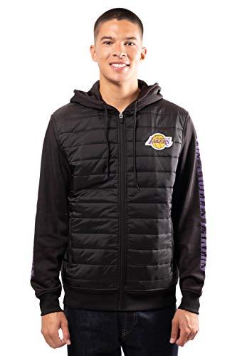 Ultra Game NBA Los Angeles Lakers Mens Full Zip Soft Fleece Hoodie Jacket, Black, Large