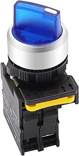 Tnisesm/Blue LED Light Voltage 220V 22mm 1 NO 2 Posizioni Impermeabile IP65 Aggancio Interruttore selettore rotativo 10A 600V LA155-A1-10XD-B