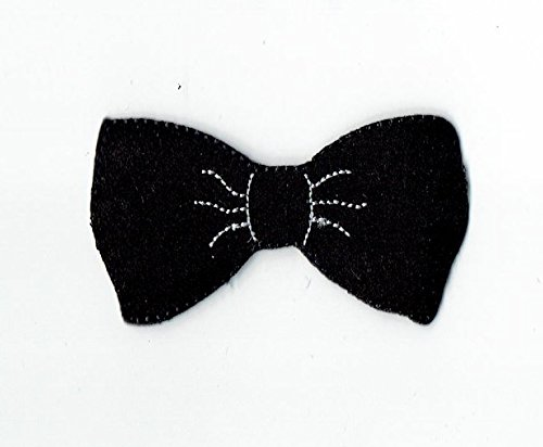 Black Hipster Bowtie Embroidered Iron on Patch