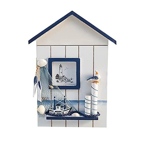 Funcoco, scatola portachiavi in legno a forma di casa mediterranea a forma di casetta da parete organizer - uccello