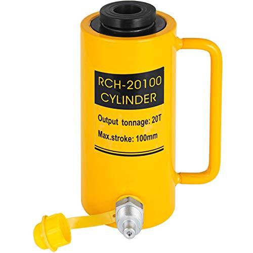 VEVOR Hydraulikzylinderheber Kapazität 20T Hydraulikzylinder 100 mm Hub einfachwirkender tragbar gelb, hydraulische Wagenheber 44000 Pfund Hohlkolbenheber Hydraulikflasche 9 kg für Riggers-Hersteller