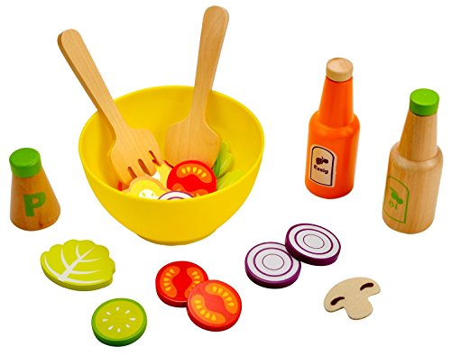 Idena 4100112 - Kleine Küchenmeister Salat - Set aus Holz und Filz, ca. 15 x 15 x 7 cm, 24 teilig