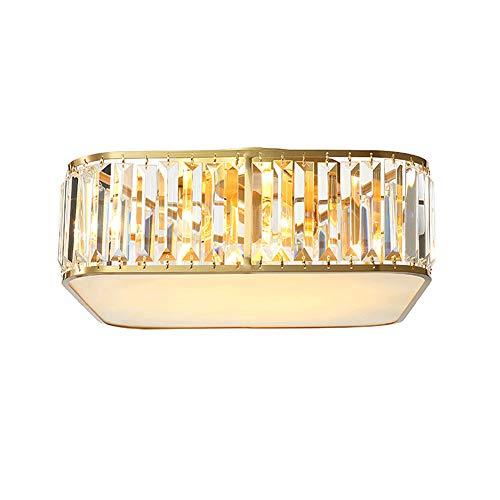 Solamlya 4 Luces Forma del Tambor Cristal Lámpara De Techo,Moderno Montaje Empotrado Lámpara De Araña Dorado Acabado De Latón Luz De Techo para El Comedor Cocina Isla-Cobre 45x45x13cm