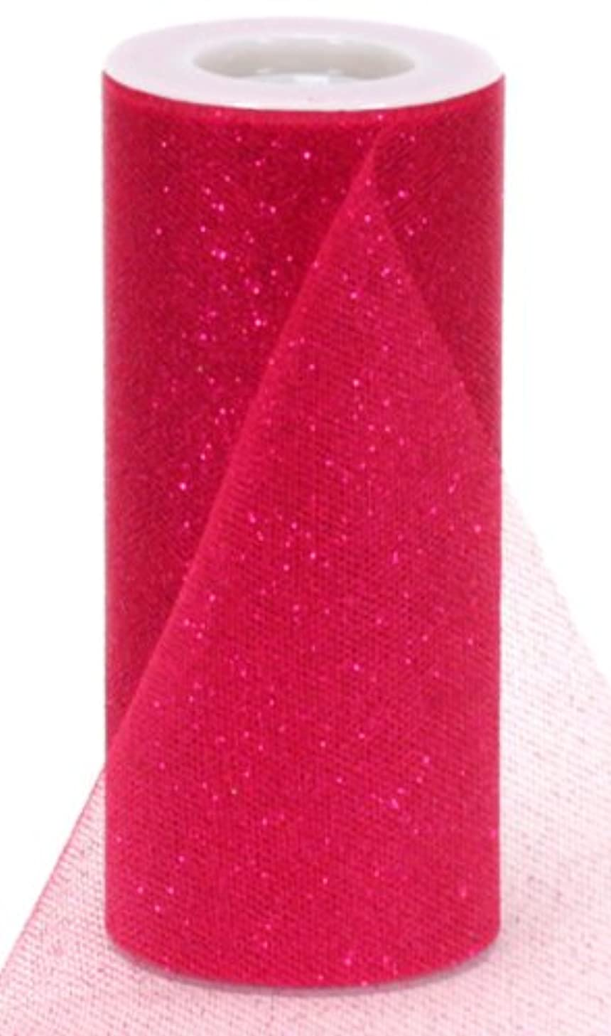 Berwick Offray Hot Pink Sparkle Tulle by the Bolt, 6'' W, 25 Yards