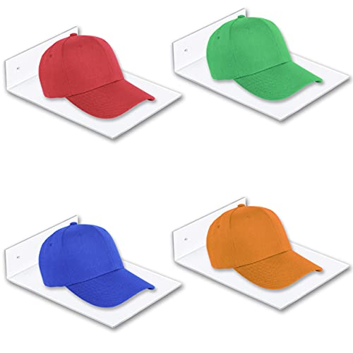 X-FLOAT Clear Floating Shelves (Wall Mounted) for Displaying Hats (Set of 4)