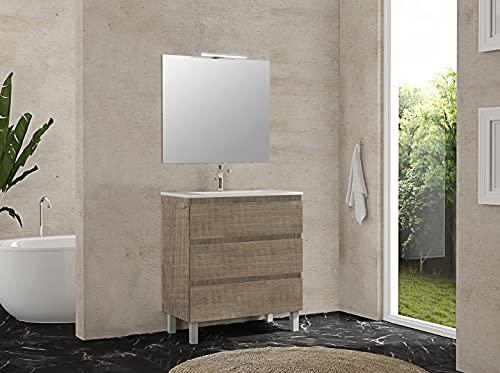 Inmocore Neptuno Mueble de Baño con Patas 3 Cajones con Lavabo Cerámico 1 Seno, Wood, Amazona, 70 cm