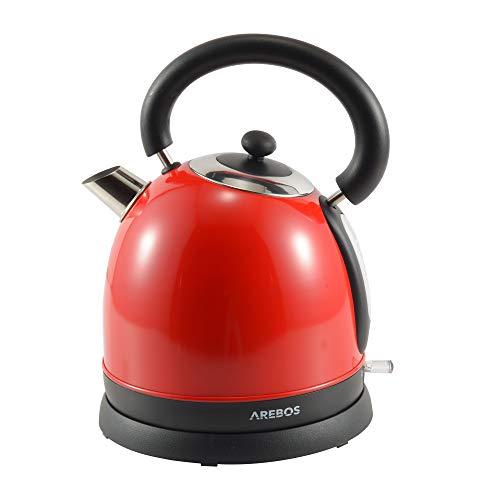 AREBOS Wasserkocher | Edelstahl | Retro Design | 1,8L | 3000W | Cool-Touch-Griff | Überhitzungsschutz | Antikalk-Filter | Otter-Controller Sicherheitssystem | BPA-frei | Rot