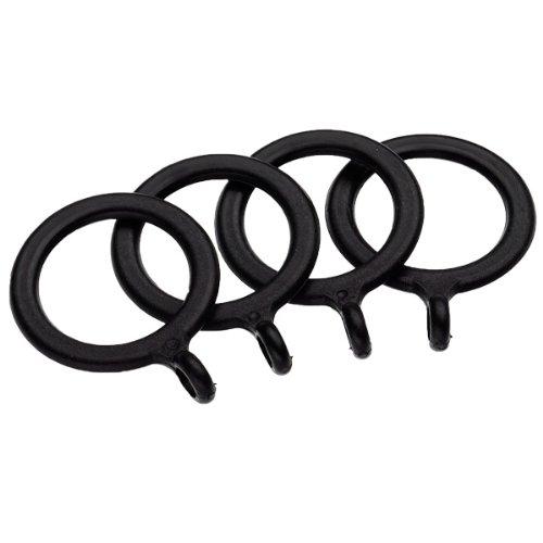 UNIVERSAL - Lot de 4 Anneaux en métal pour Tringle à Rideaux 13-16 mm - Noir