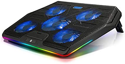 TECKNET RGB Laptop Cooling Pad Cooler for 15.6-17 Inch Laptop with 5 Quiet Fans and Touch Control, 2 USB Port