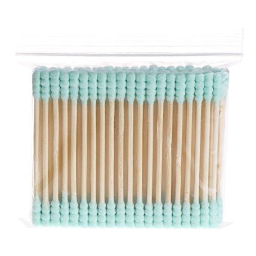 Fxikun 100 pièces Cotons-tiges Biodégradables en Bambou de Biologique Bâtonnets en Coton Durables et Compostables (vert)