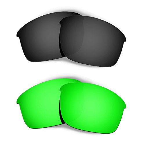 Hkuco Mens Replacement Lenses For Oakley Bottle Rocket Black/Emerald Green Sunglasses