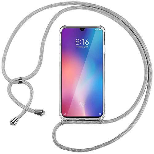 Ingen Funda con Cuerda para Xiaomi Mi 9 - Carcasa Transparente TPU Suave Silicona Case con Colgante - Gris