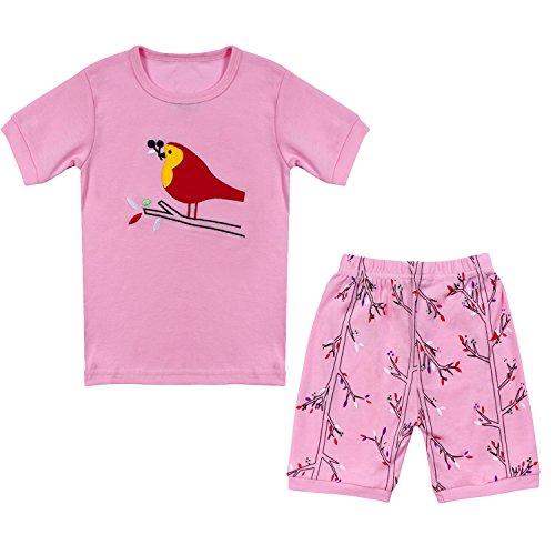 Qtake Fashion 1–12 Jahre Mädchen Schlafanzug Kinderkleidung Set 100% Baumwolle Little Kids Pyjama Nachtwäsche Gr. 92, rose