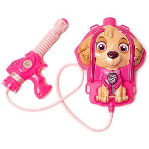 PAW PATROL Water Gun Backpack, Outdoor Toys For Kids, Super Soaker With Skye, Age 3 +, Garden Fun Games For The Girls And Toddler, Birthday Party Gifts. Portable Pink Pistol Adjustable Straps