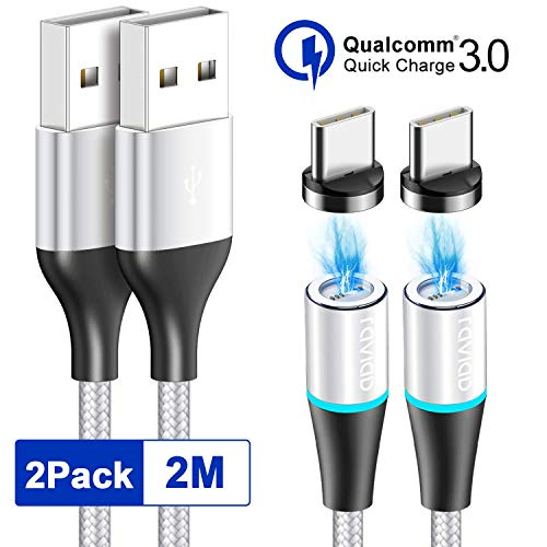 RAVIAD Magnético Cable USB Tipo C, [2Pack, 2M] Magnetico Cargador Tipo C Carga Rápido y Sincronización Cargador iman para Galaxy S10/S9/S8/Note10, Xiaomi Mi A2/A1, Huawei P30/P20, Xperia XZ, LG G7