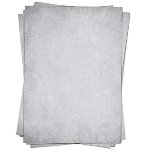 50 Blatt im Set: Briefpapier Altes Papier Vintage Grau - DIN A4 - beidseitig - Graues Papier edel