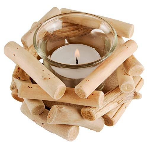 Land-Haus-Shop Treibholz Holz Teelicht Windlicht Maritim Ganzjahres Deko Teelichthalter Halter