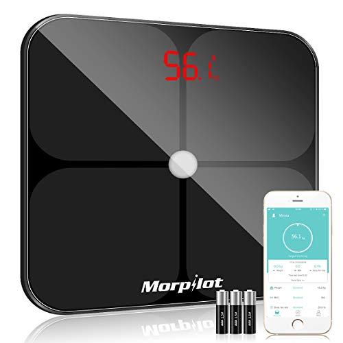 Báscula Grasa Corporal, morpilot Báscula Digital con Bluetooth Báscula Inteligente Báscula de Baño Alta Precisión por Análisis Corporal de 14 Funciones para IOS y Android