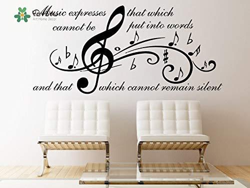 Fotobehang muziek vinyl kunst kamer decoratie sticker citaat muziekuitdrukking verwijderbare home muurschildering poster 63x135cm