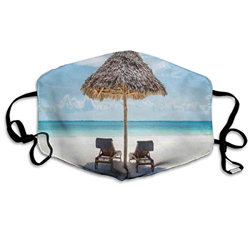 dgassd Reusable Decorative Covers Wooden Sun Loungers Facing Eastern Ocean Under A Thatched Umbrella in Zanzibar Printing Cover for Adult