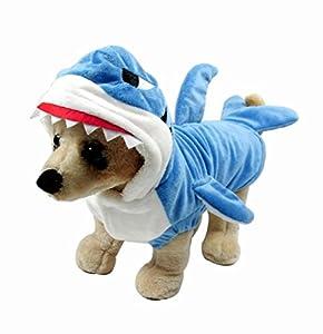 Adorable déguisement pour animal de compagnie Mangostyle - Mâchoires de requin - Bleu - Veste avec capuchon pour chiens et chats